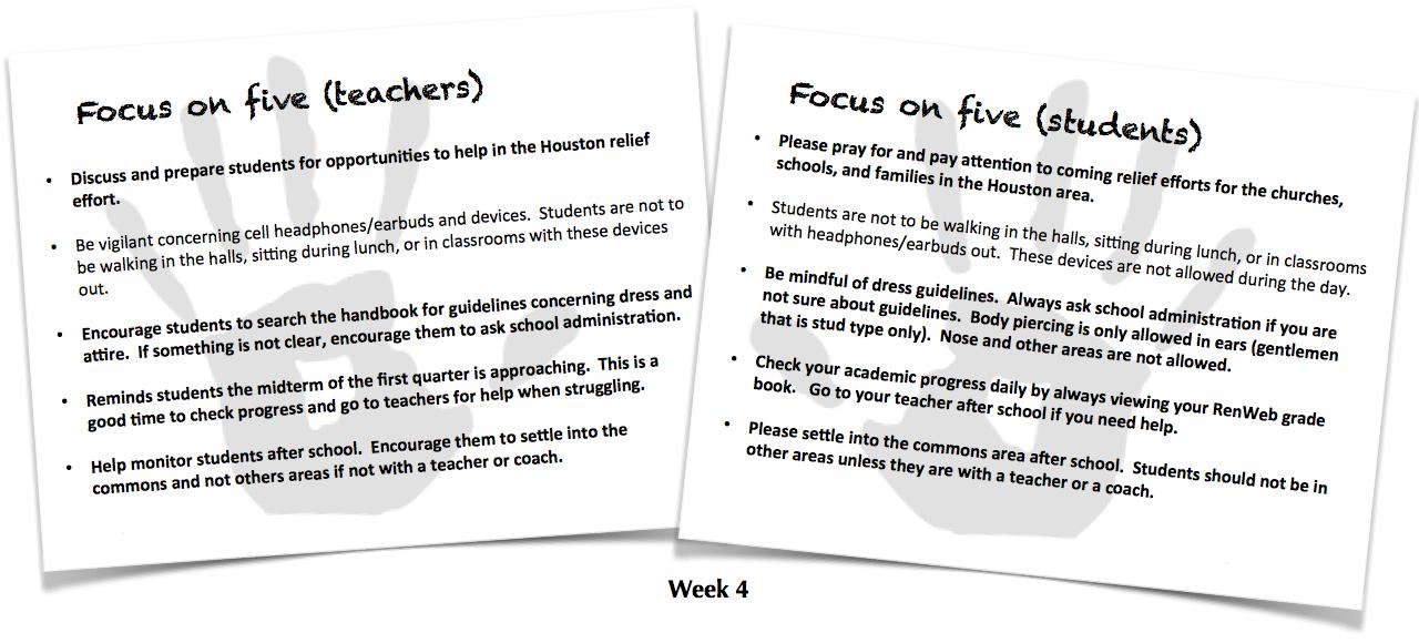 Focus on Five, Week 4
