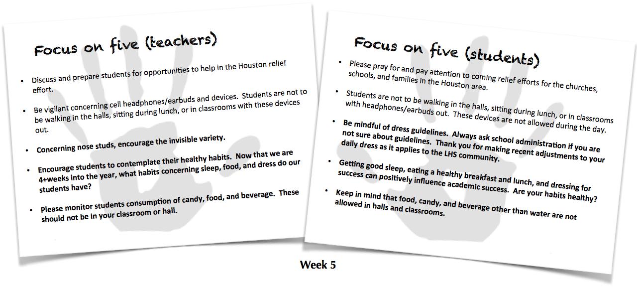 Focus on Five, Week 5
