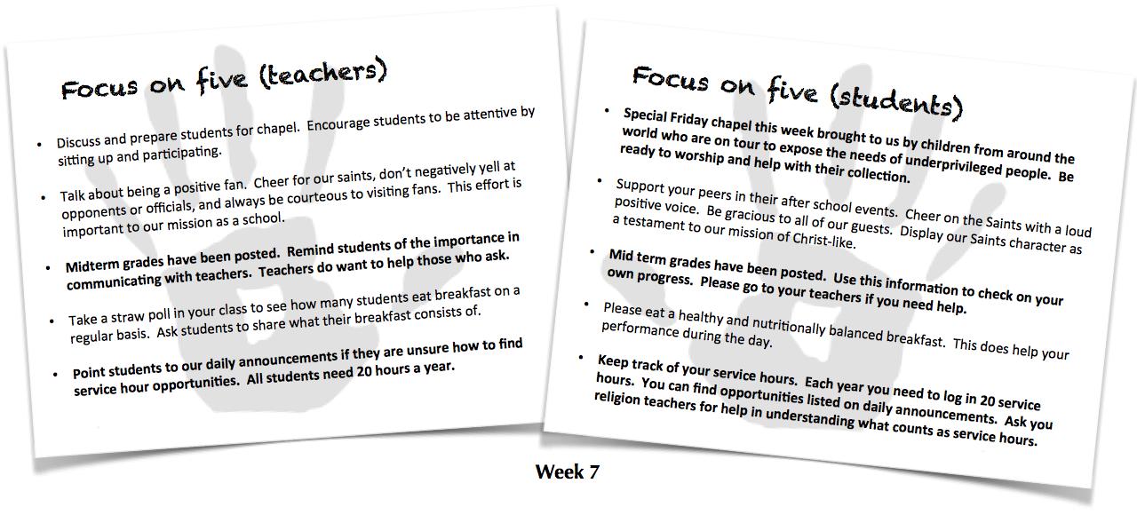 Focus on Five, Week 7