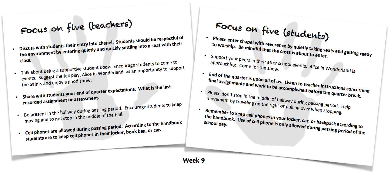 Focus on Five, Week 9