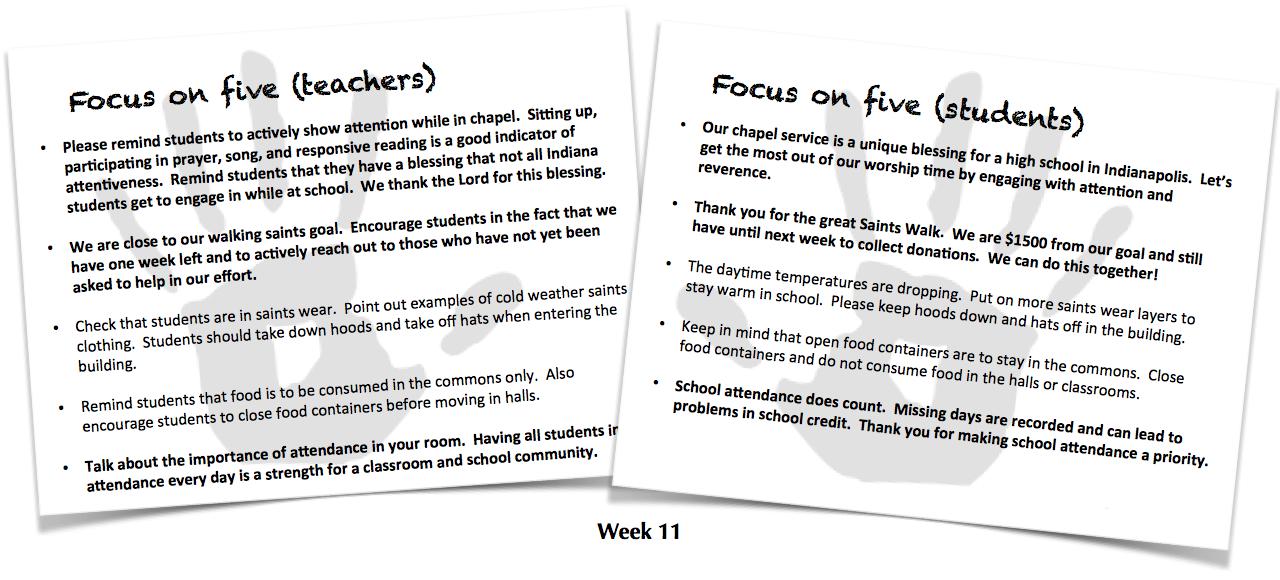 Focus on Five, Week 11