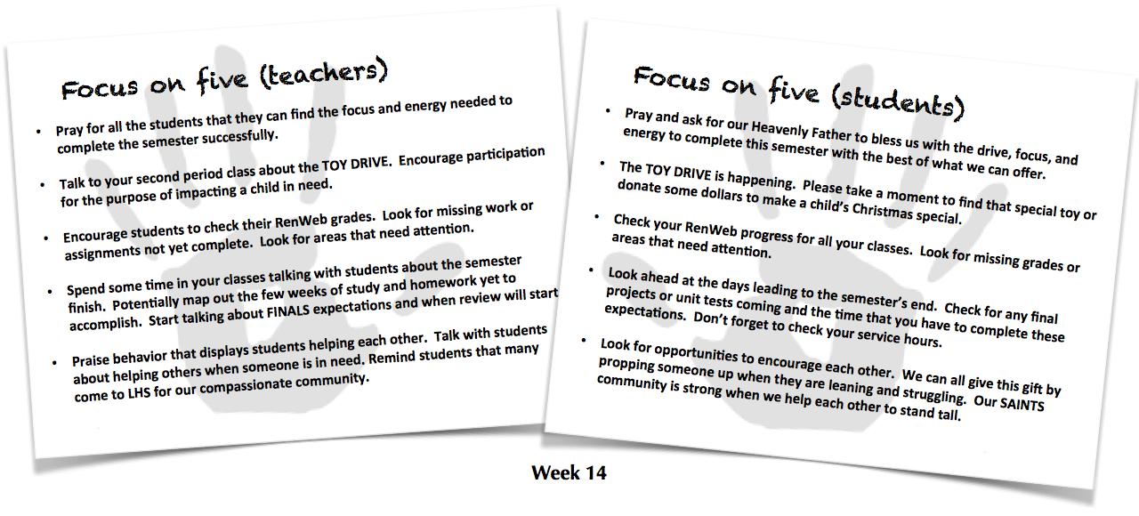 Focus on Five, week 14