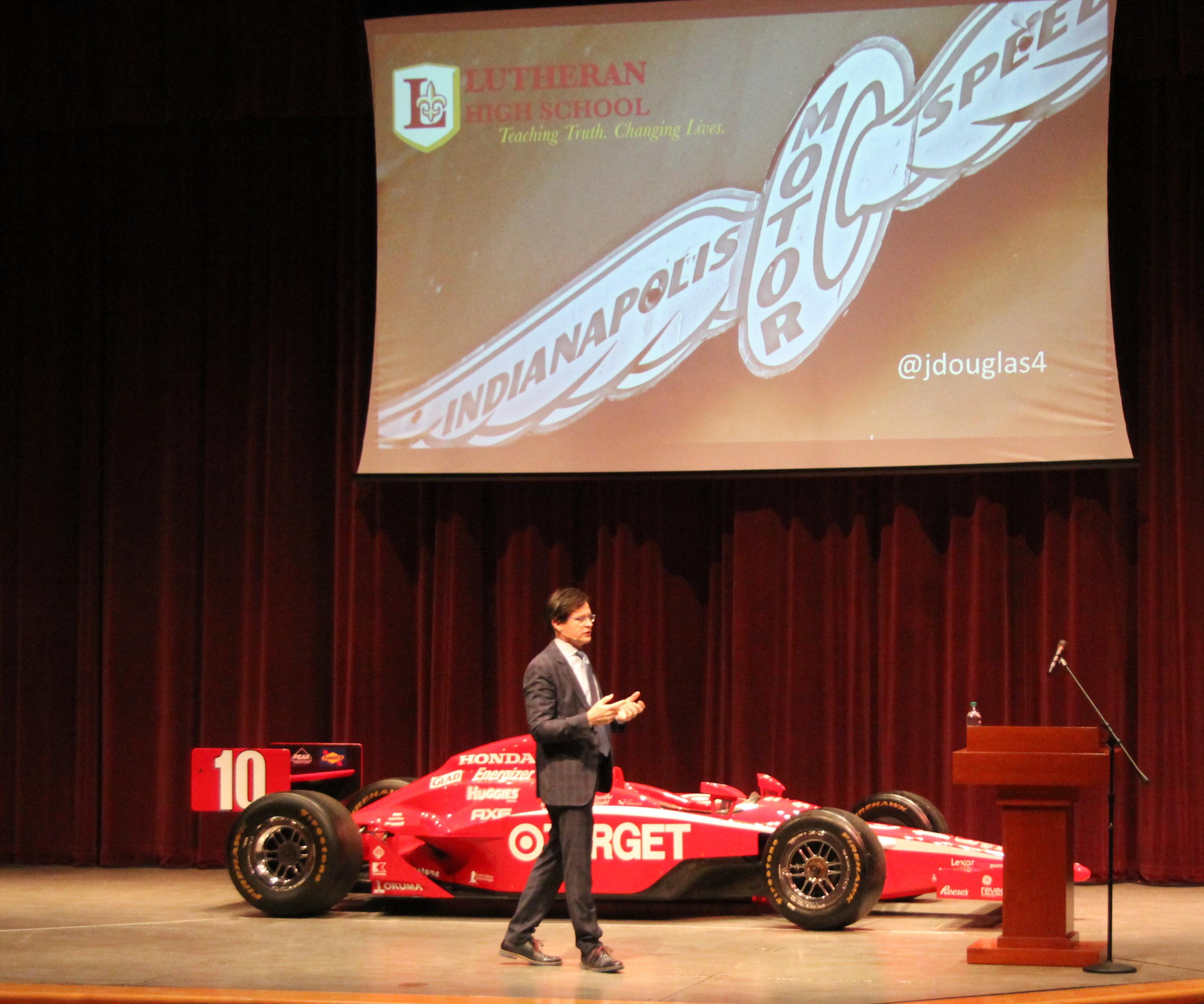 Doug Boles, race car on LHS stage